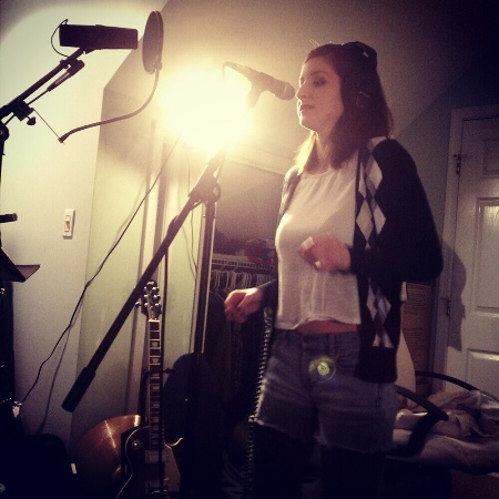 "Erin singing for ""As One"" chorus harmonies yay"